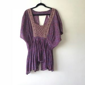 Freepeople purple floral draw string waist tunic